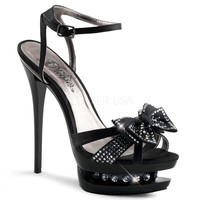Ankle Strap Sandal With Rhinestone Bow on Toe