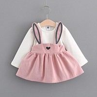 Cute rabbit Baby Girl Dress 2017 New Casual Autumn Baby Clothes Long Sleeve cotton baby Dress baby girl clothes 0-24month