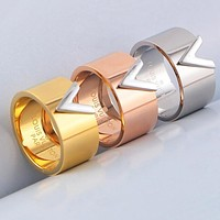 LV Louis Vuitton Newest Popular Couple Stylish Titanium Steel Ring Accessories Jewelry