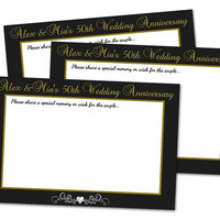 50th Anniversary Wishes - 50th Anniversary Memories Cards - Chalk Anniversary Party Game - Gift for Couple - 40th - 30th - 60th Elegant
