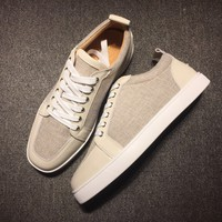 KUYOU Christian Louboutin red sole classic rivet shose Roller Boat CL classic Low Top linen Casual shoes