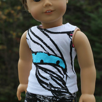 18 inch doll clothes, abstract, graphic tank top and black and white denim mini skirt