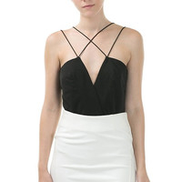 Criss Cross Bodysuit - Black- FINAL SALE