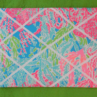 New memo board made with Lilly Pulitzer 2013 Lets Ch Cha fabric