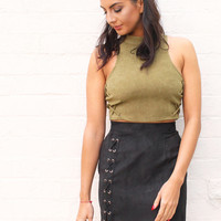 Lace Up Side Faux Suede Mini Skirt in Black