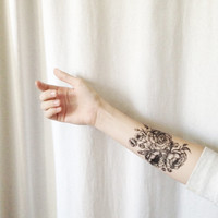 """Large Floral Temporary Tattoo Peony and Roses 3.5"""" x 4"""""""