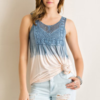 Dip Dyed Tank Top - Blue and Peach