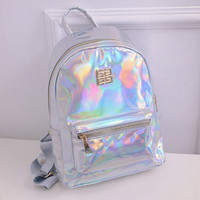 Suutoop Holographic Backpack Women School Backpacks For Teenage Girls Fashion Travel Rucksack Small PU Leather Backpack
