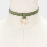 Faux Suede Metal Hoop Pendant Choker Necklace - Olive