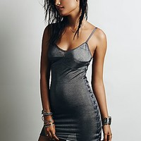 Intimately Womens Strapped Up Rib and Ribbon - Charcoal