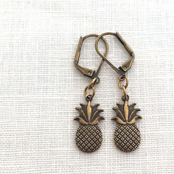 Pineapple Earring, For Women, Fruit Earring, Hawaii, Novelty Earring, Brass Leverback Earrings, Thank You Gift Hostess, Pine Apple, 599