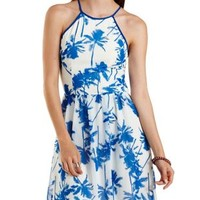 White Combo Tropical Print Strappy Halter Dress by Charlotte Russe