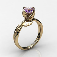 Swan 14K Yellow Gold 1.0 Ct Amethyst Fairy Engagement Ring R1029-14KYGAM