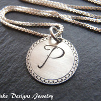 Sterling silver initial necklace personalized bridesmaid gift