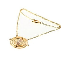 Moonar®Harry Potter Hermione's Rotating Sand Glass Spins Time Turner Hourglass Chain Plated Necklace (White)