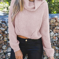 Pink Cropped Cowl Neck Sweater