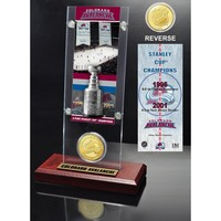 Colorado Avalanche 2x Stanley Cup Champions Ticket and Bronze Coin Acrylic Display