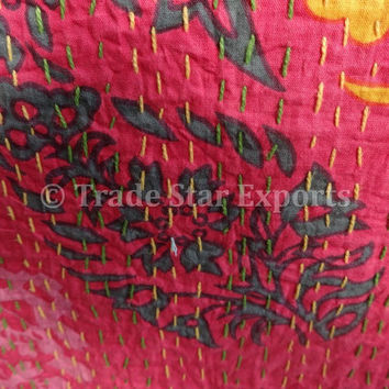 Pink Color Suzani Print Cotton Kantha Bedspread, Handmade Twin Size Kantha Quilt, Indian Designer Bedding, Bohemian Bed Cover