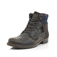 River Island MensBrown leather lace up military boots
