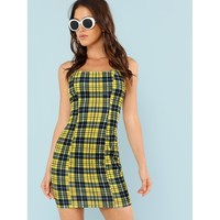 Plaid Spaghetti Strap Bodycon Dress