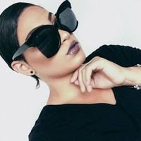 Oversized Large Round Cat Eye Cut Off Semi Rimless Designer BOHO Sunglasses