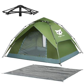 Night Cat Waterproof Camping Tent for 1 2 3 4 Person with Footprint Tarp Easy Instant Pop Up Tent Automatic Hydraulic Rainproof Tent with Rain Fly Green + Heavy Rainproof + Tarp 1-2 Persons(200*180*120cm)