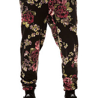 The Digi Foral Tapered Jogger Pants in Black and Pink