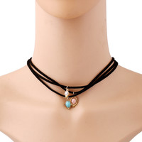 New fashion jewelry leather turquoise choker necklace three layer velvet choker gift for women girl Christmas Gift