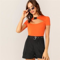 Sporty Neon Orange Push Buckle Cutout Front T Shirt Women Short Sleeve Round Neck Stretchy Solid Slim Fit Casual Tshirt