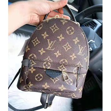 LV Louis Vuitton Fashion New Monogram Leather Mini Backpack Bag Women