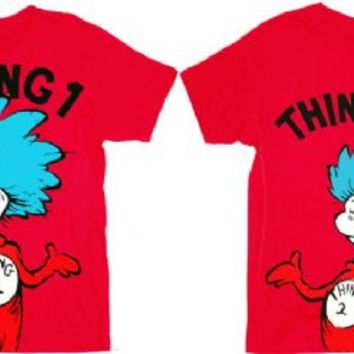 Dr. Seuss Thing 1 & Thing 2 Adult Red T-shirt