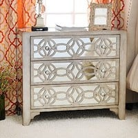 Libby Silver Mirrored 3-Drawer Chest | Kirklands