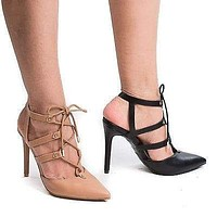 Riseup27M By Anne Michelle, Pointy Toe Studded Caged Lace Up Stiletto Heel Pumps
