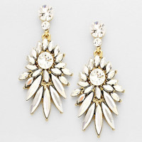 Mckensie Floral Dangle Clear Evening Earrings
