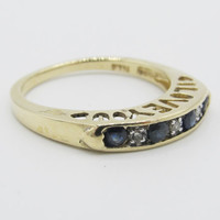 Estate Natural Sapphire Diamond Anniversary Band Ring 10k Yellow Gold/ I Love You/ Cutout Hearts