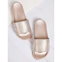 Rhinestone Pave Band Slippers