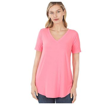 Your New Favorite! Classic V Neck Top - Bright Pink