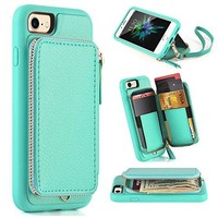 iphone 7 Wallet Case, iphone 7 Case with Card Holder, ZVE iphone 7 Protective Wallet Leather Case With Credit Card Holder Slot, Handbag for Apple iphone 7 4.7 inch - Blue