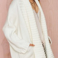 Cover It Up White Long Sleeve Chunky Open Front Long Cardigan Sweater