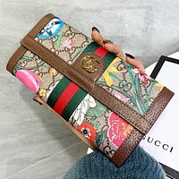 GUCCI New fashion stripe floral more letter print leather wallet purse handbag