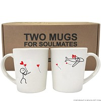 No Matter The Miles™ His & Hers Matching Couple Coffee Mugs-Long Distance Relationship Gifts,Love Gifts for Long Distance Couples,Christmas Gifts for Her,Valentines Day Gifts for Her