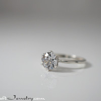 Old European Cut CZ Engagement Ring Sterling Silver 6 Prong OEC Cubic Zirconia Solitaire Promise Ring 6.5mm or 7mm Diamond Simulant Size 2-13