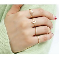 Simple temperament moon sun alloy fine ring combination seven sets