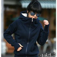 Blue Cotton Blends Hooded Zipped Warm One Size Outfit@H4076