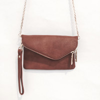 Lucy Crossbody Handbag & Clutch In Tan