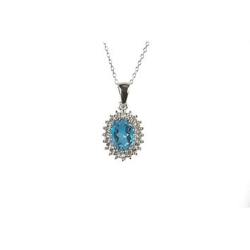Sterling Silver Blue Topaz and Diamond Necklace (.01ct) Oval Pendant Necklace