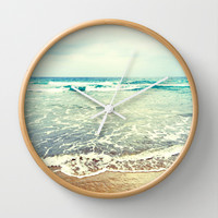 Oh, the sea, the sea... Wall Clock by Lisa Argyropoulos