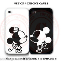 Personalized Black White Mouse Love Couple iPhone Case -2 iPhone 4 4S 5 S3 Cases