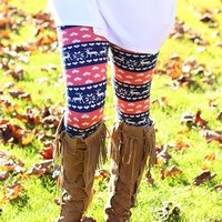 All I Want For Christmas Fleece Lined Leggings in Coral
