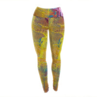 "Malia Shields ""Cityscape Abstracts III"" Pink Yellow Yoga Leggings"